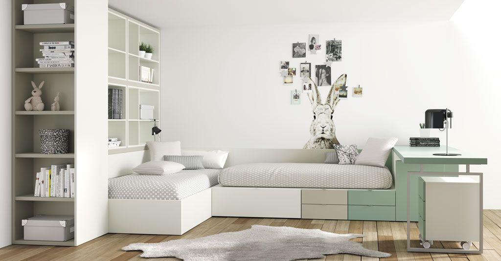 Dormitorios juveniles con un aire diferente moderno y - Habitacion juvenil 2 camas ...