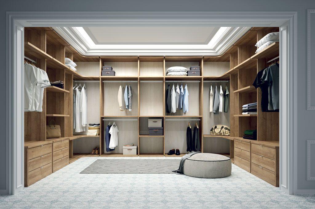 Fotografía del vestidor closet en forma de U a tres paredes