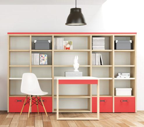 Detalle del conjunto de estanterías con mesa incorporada