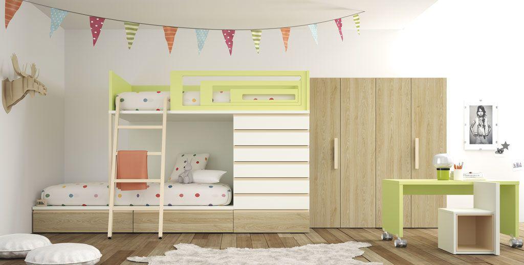 Dormitorio juvenil con litera modelo Verona