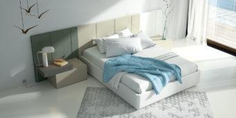 Dormitorio de matrimonio con el cabecero AW en tres colores