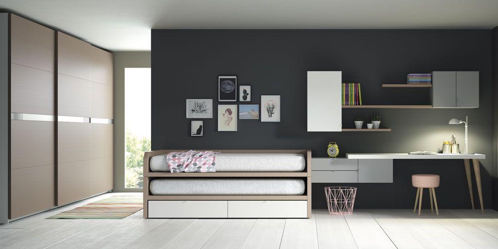 Composici n juvenil de cama nido modelo bruselas for Dormitorios juveniles con escritorio incorporado