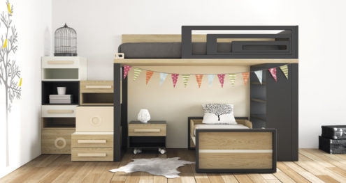 Habitacion juvenil con dos camas modelo Viena