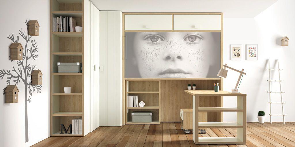 Habitaci n diferente al tener la cama abatible horizontal elevada - Habitaciones juveniles camas abatibles horizontales ...