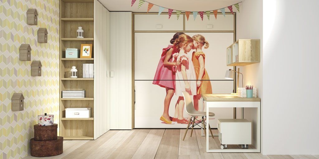 Dormitorio juvenil con dos camas abatibles con fotografía impresa