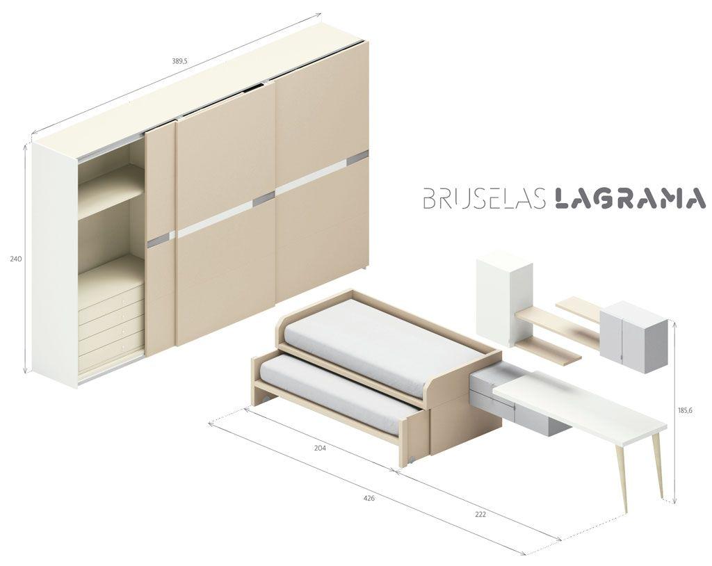 Composici n juvenil de cama nido modelo bruselas for Medidas cama nido con cajones