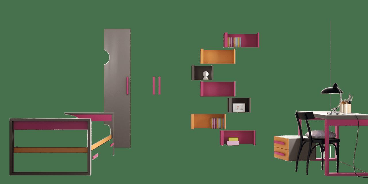 Combinación de colores Titanio, Orquídea y Calabaza