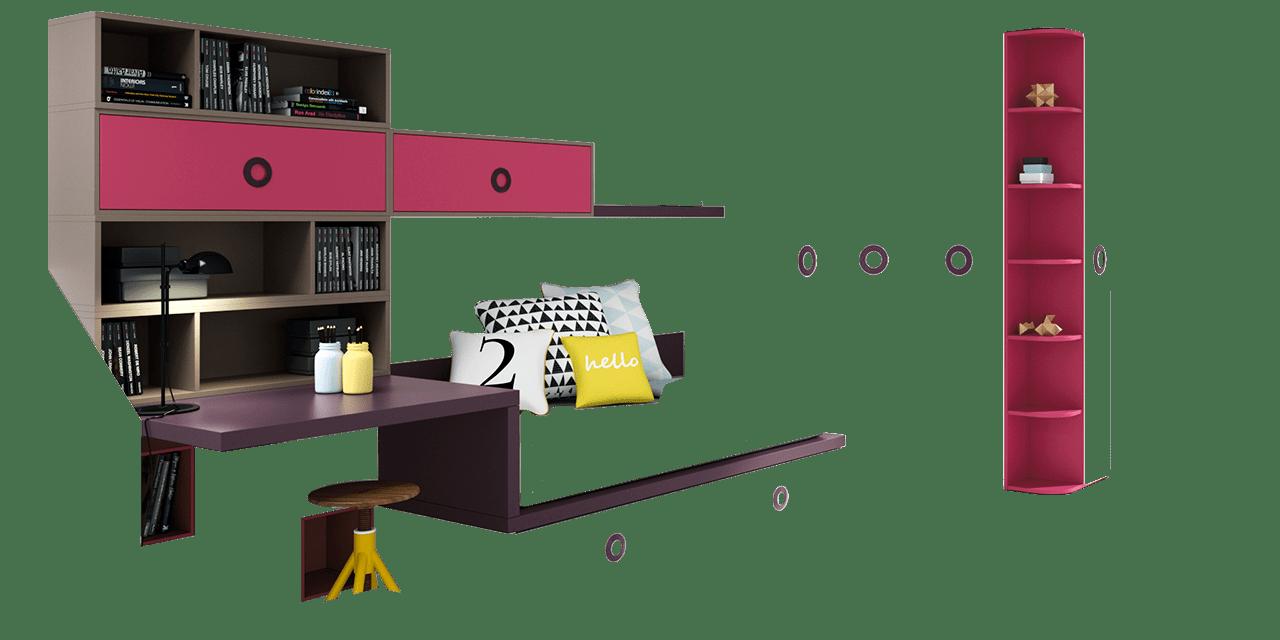 Combinación de colores Pruna, Titánio y Orquídea