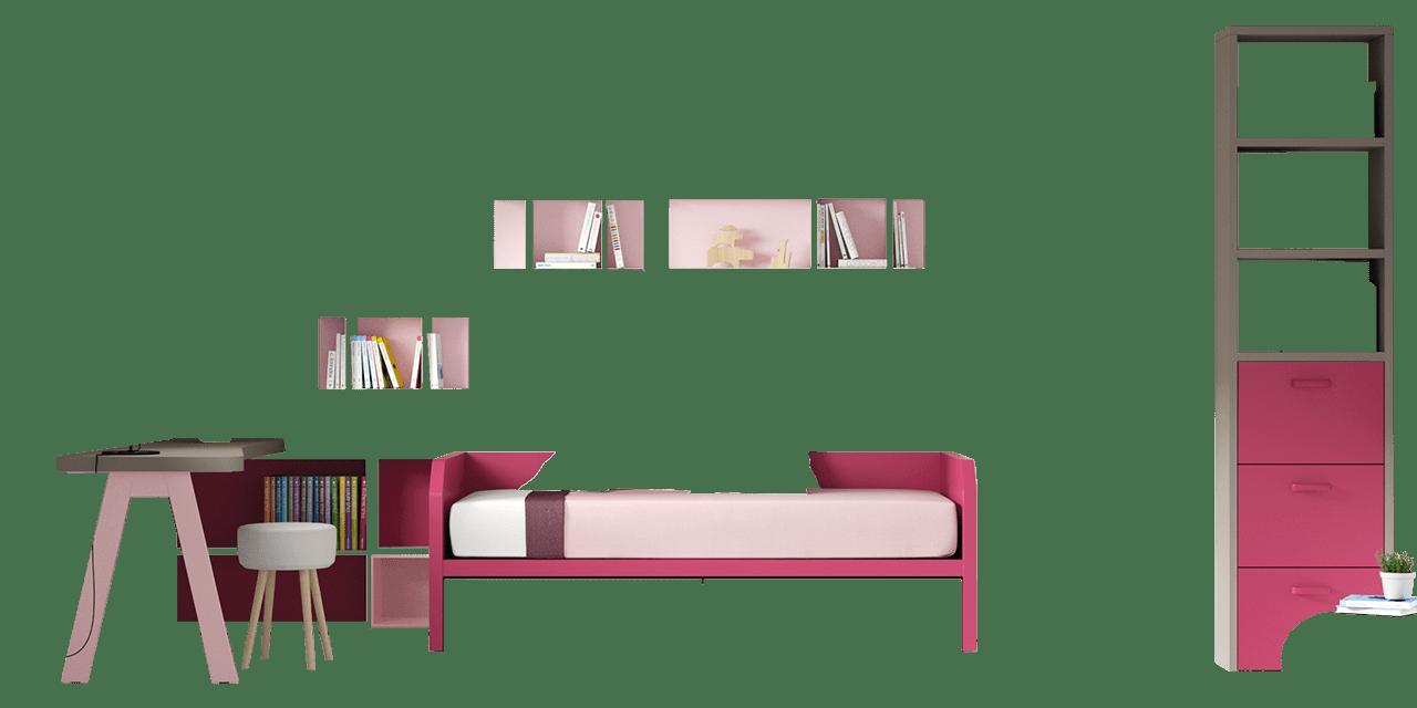 Combinación de colores Titanio, Orquidea y Rosa