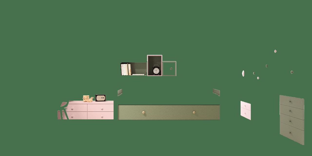 Combinación de colores Granito y Rosa