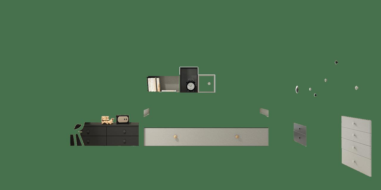 Combinación de colores Silver y Gris Vulcano