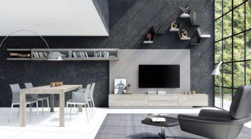 Muebles para el salón con un gran panel TV