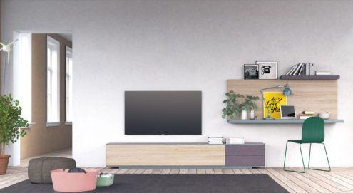 Salón moderno que combina colores