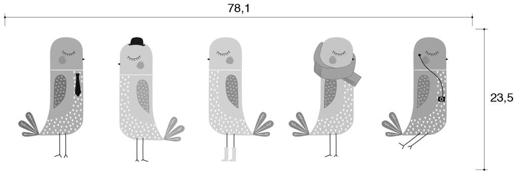 Medidas del vinilo decorativo Pájaros