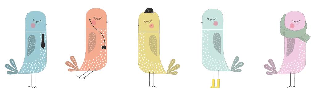 Vinilo decorativo infantil con Pájaros