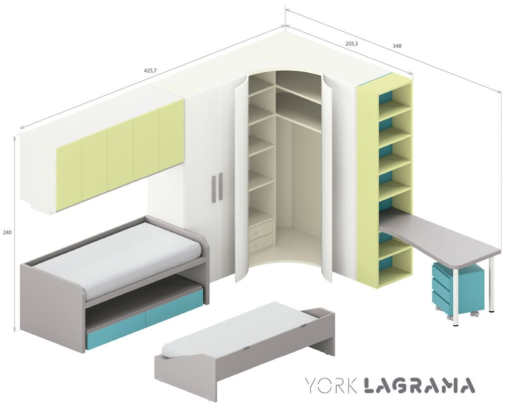 Dormitorio juvenil modelo york con un gran armario rinc n - Medidas de un armario ...
