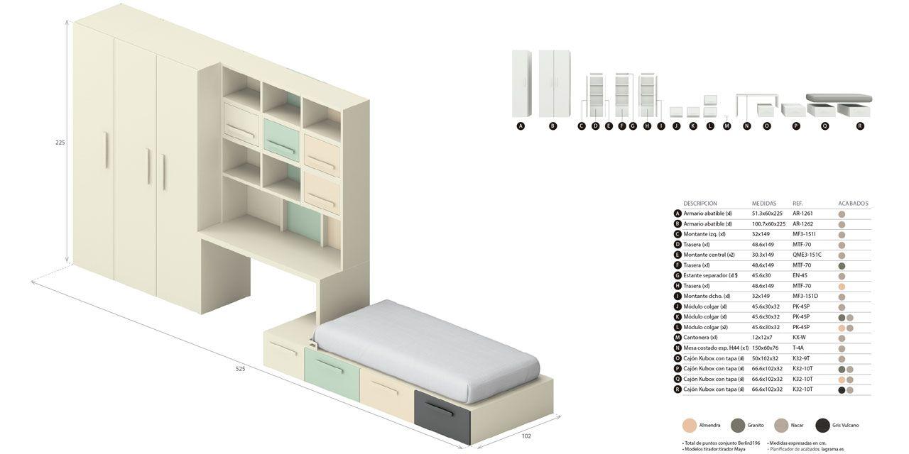 Desglose de muebles y medidas composición Berlín 14