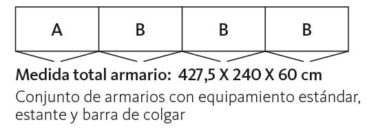 Medidas de los armarios con frentes FR Cristal multicolor