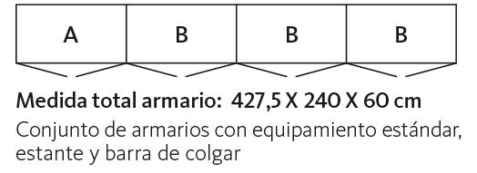 Medidas de armarios con puertas batientes modelo AV Espejo