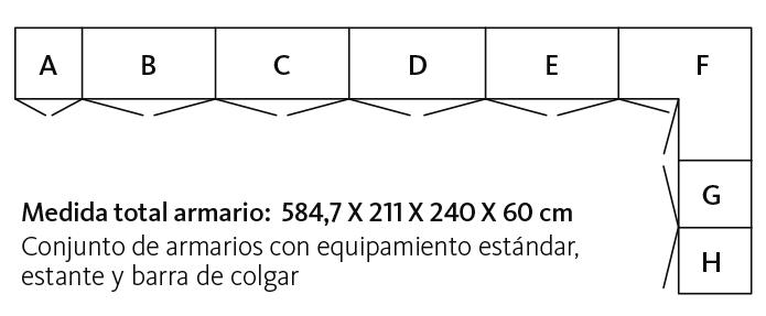 Medidas y distribución del armario con puertas A1