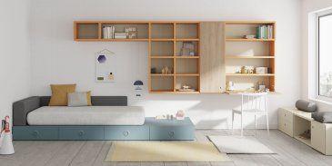 Habitación juvenil compuesta por módulos Kubox y estantes AirBox