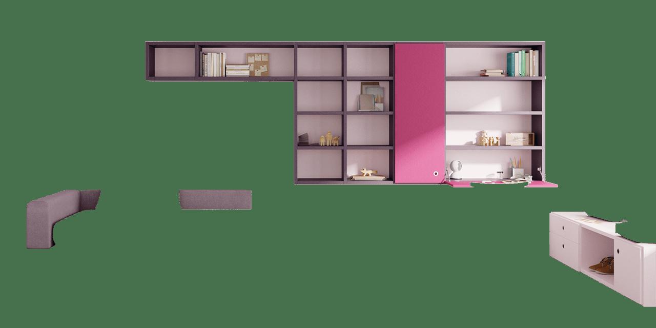 Combinación de colores Pruna, Rosa, Orquídea y Blossom