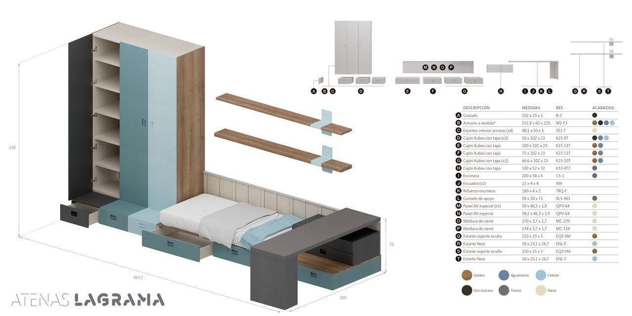 Ficha técnica de las medidas exteriores y desglose de módulos
