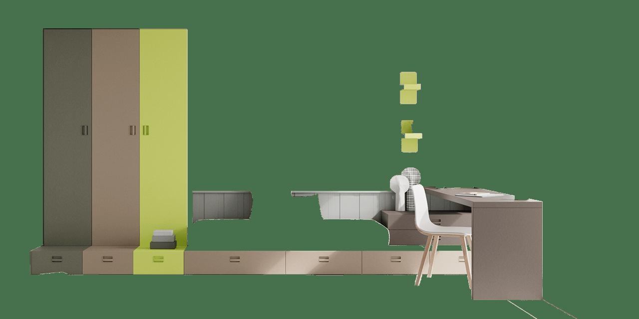 Combinación de colores Petra, Silver, Cendra, Manzana y Granito