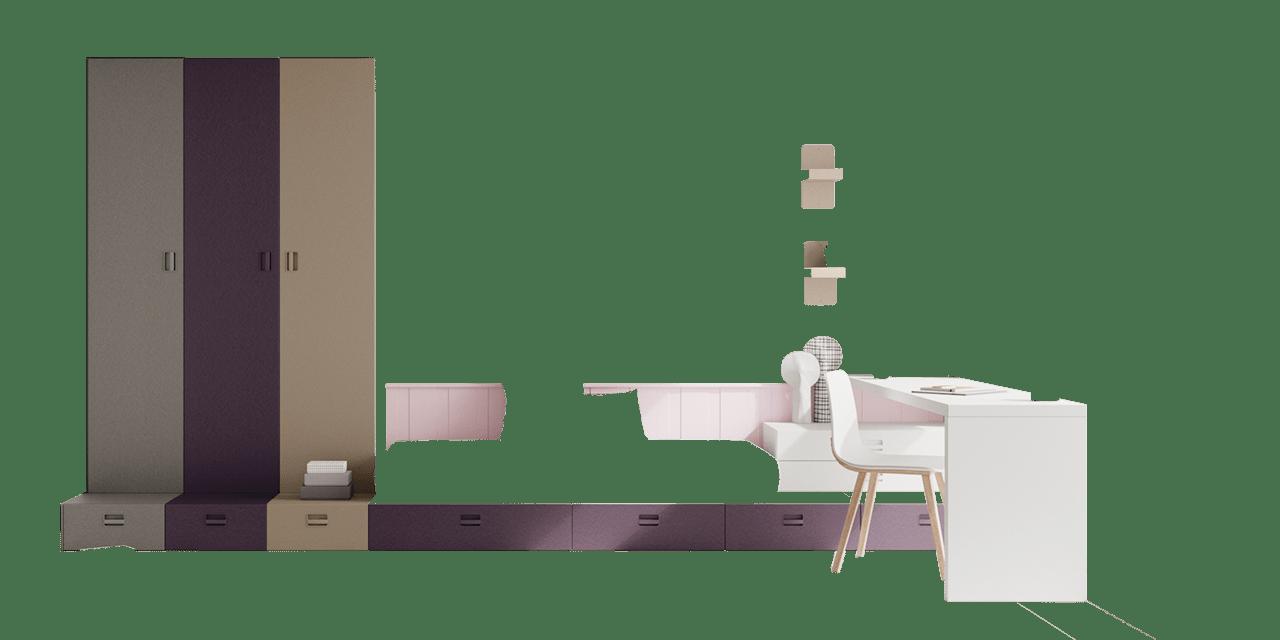 Combinación de colores Blanco, Rosa, Pruna, Cendra y Titanio