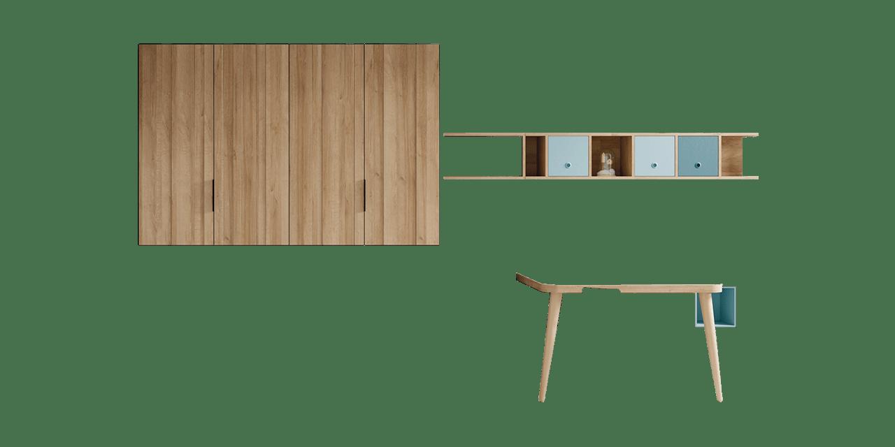 Composición juvenil Reikiavik con cama abatible y armario-combinacion
