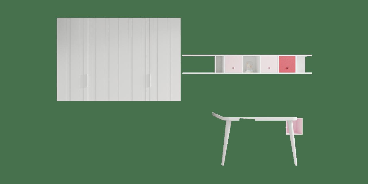 Combinación de colores Blanco, Cendra, Rosa y Borgoña