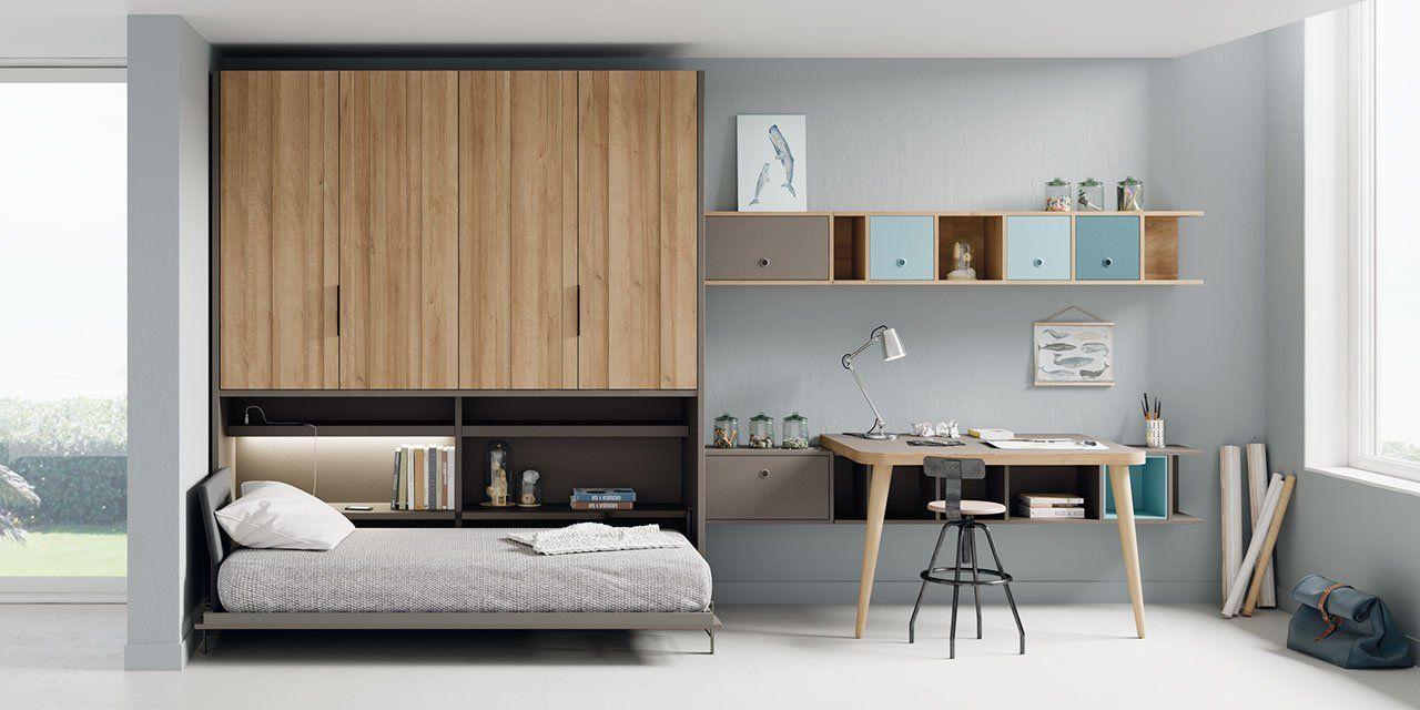 Composición juvenil Reikiavik con cama abatible y armario