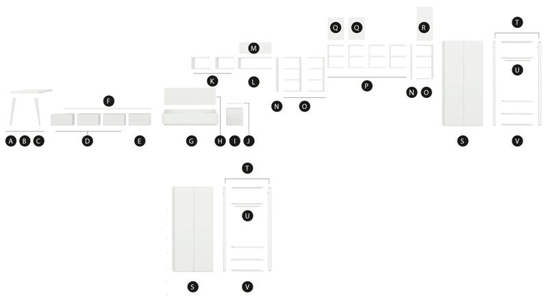 Desglose de los muebles del dormitorio moderno modelo Vitoria