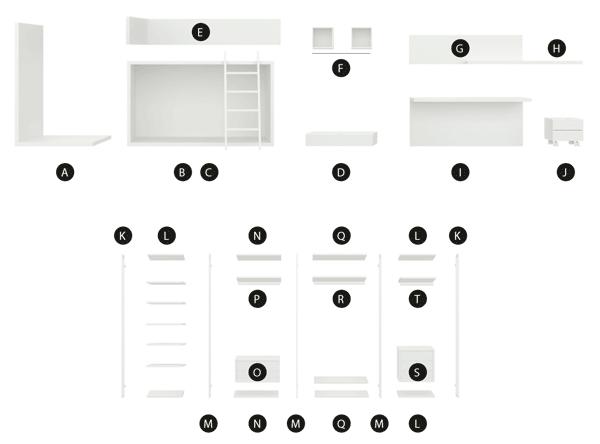 Desglose de los módulos de la composición Zarautz