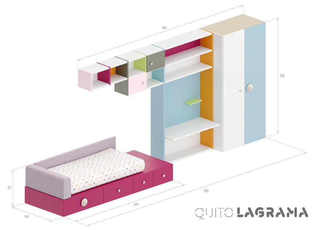 Medidas exteriores de la composición infantil Quito
