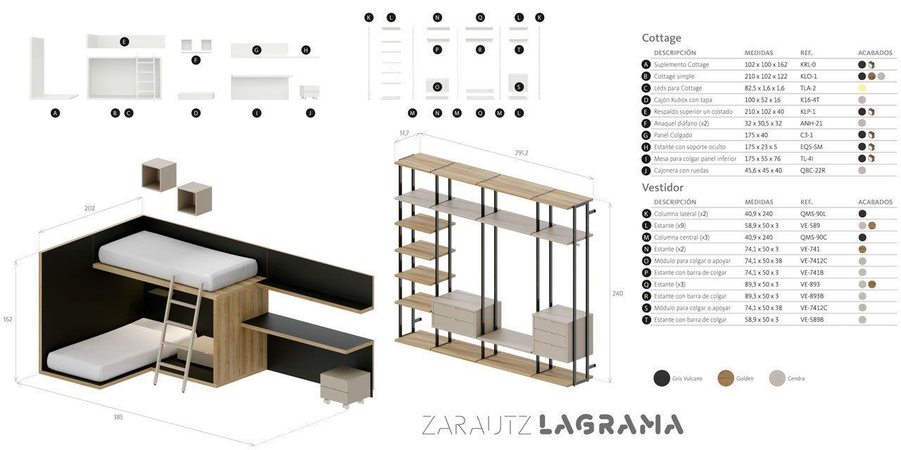 Medidas exteriores y desglose de la composición Zarautz del planificador