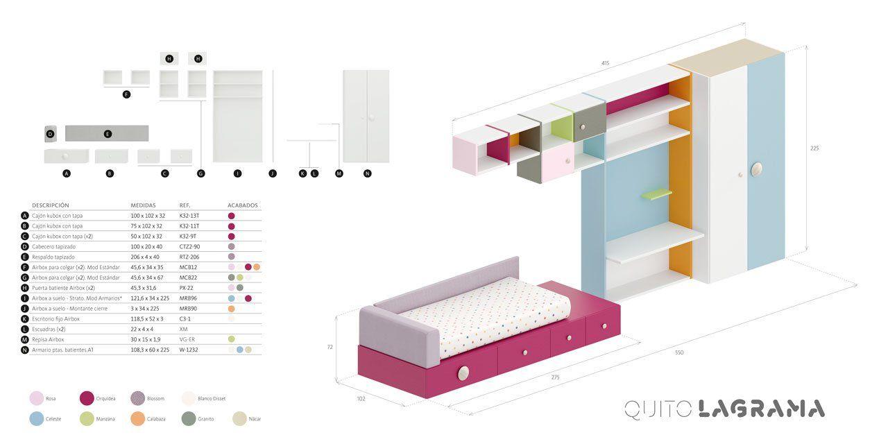 Medidas exteriores y desglose de la composición Quito para el planificador