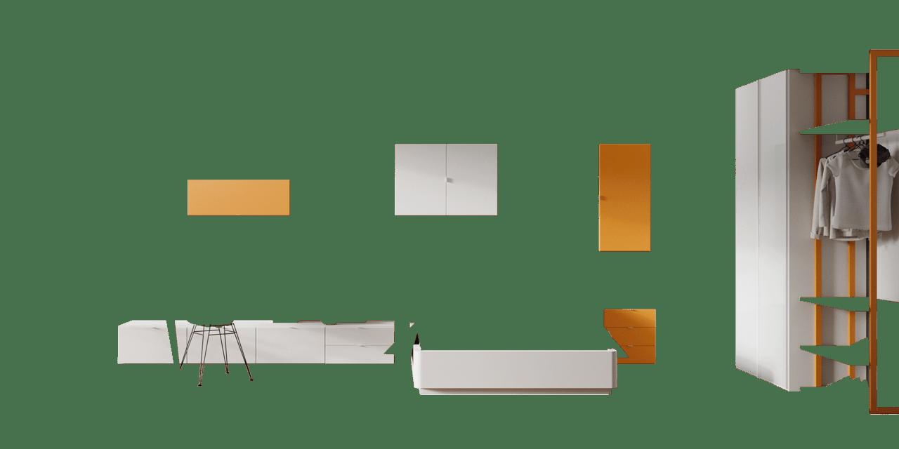 Combinación color Blanco Disset y Calabaza composición Vitoria