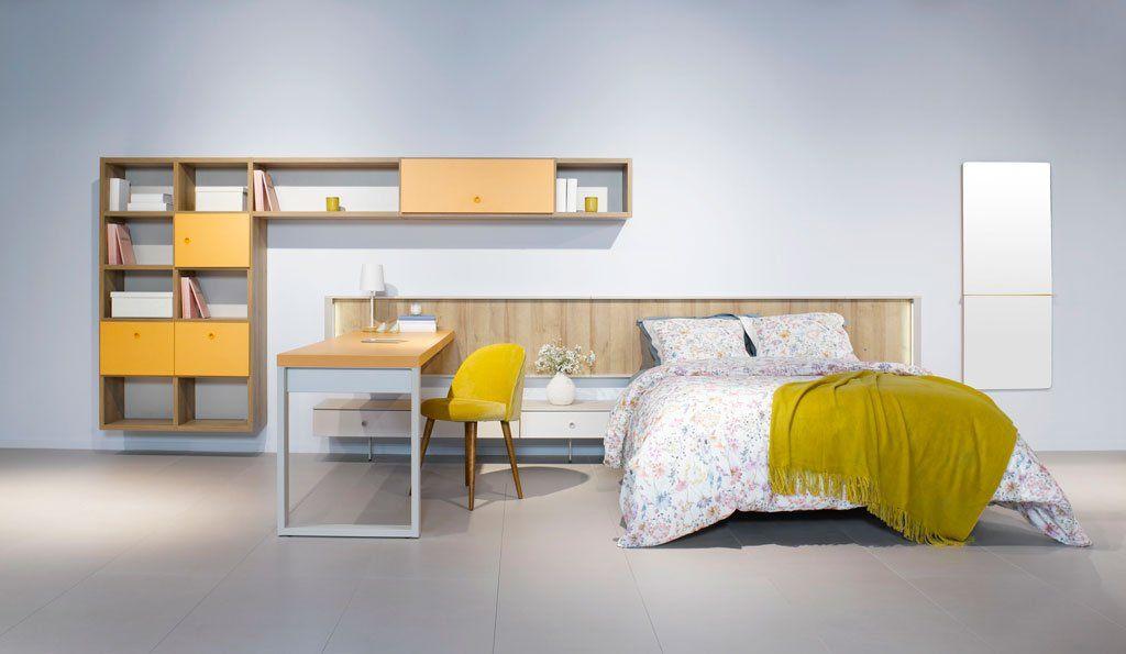 Estanteria cabecero affordable podemos optar por maderas for Dormitorios ahorro total
