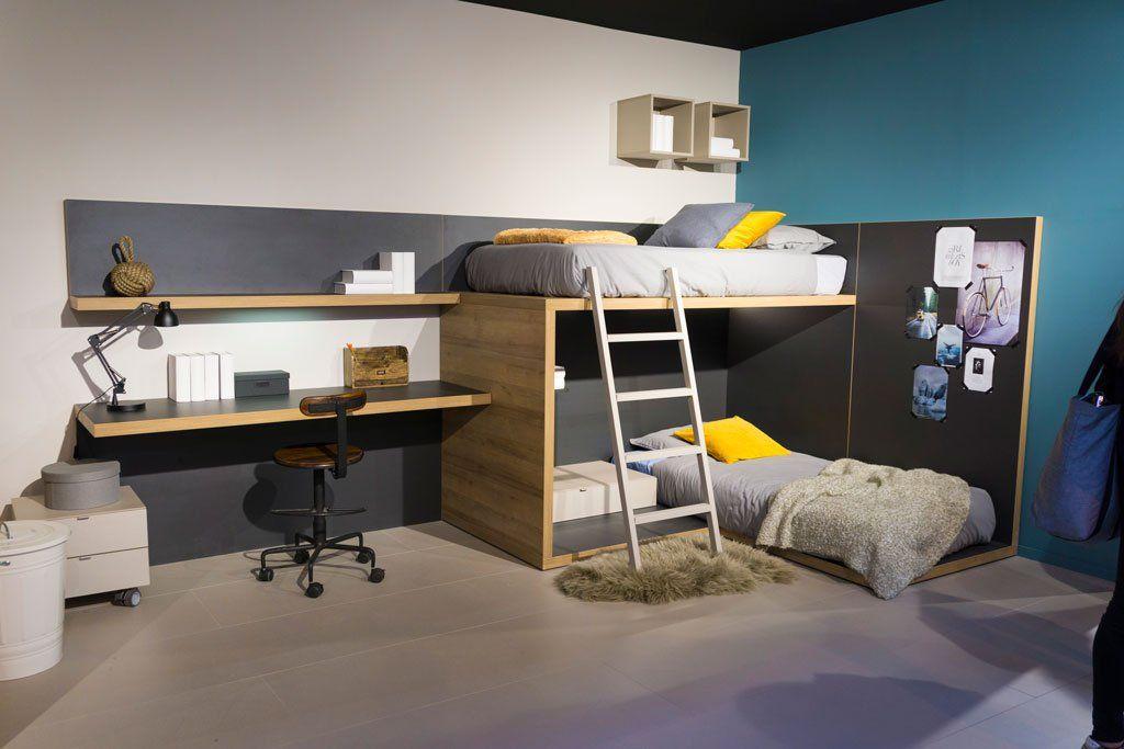 Novedades presentadas por lagrama en la feria de zaragoza 2018 - Dormitorio juvenil con dos camas ...