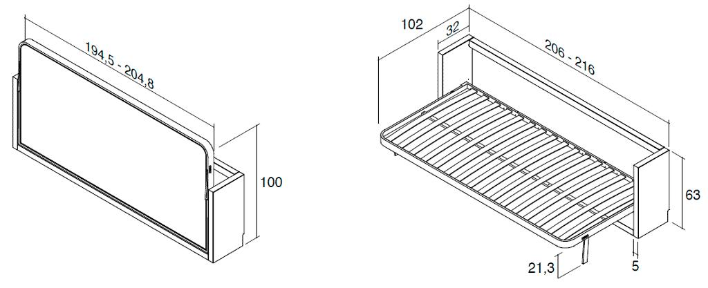 Medidas de la cama horizontal metálica modelo Blink