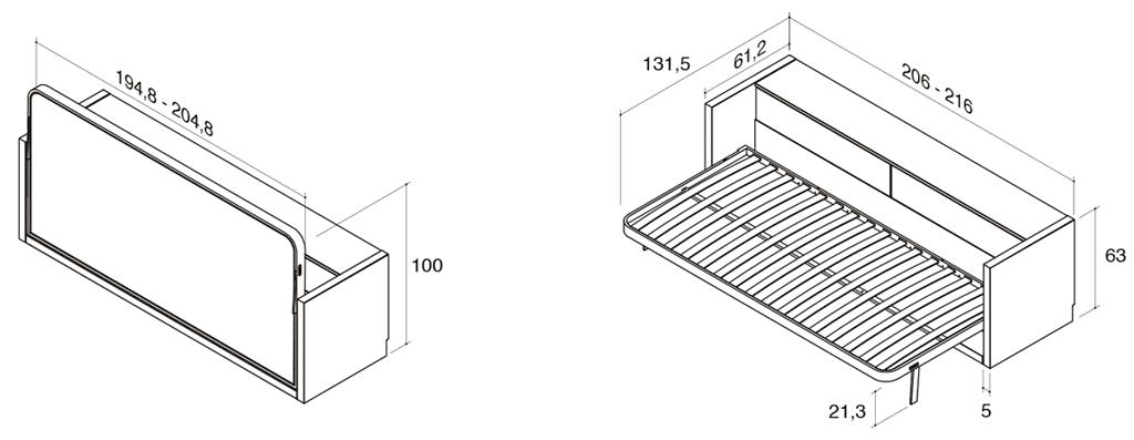 Medidas de la cama horizontal metálica modelo Blink con arcón