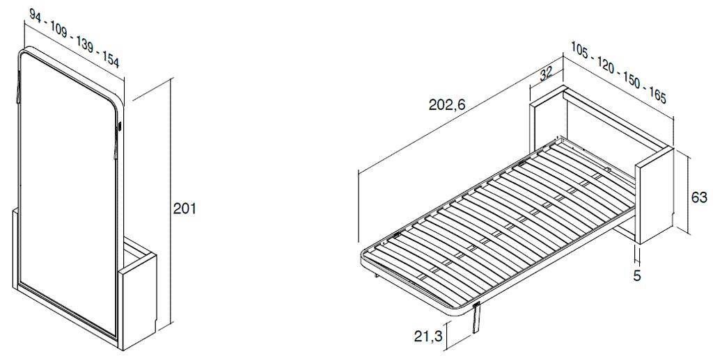Medidas de la cama vertical metálica modelo Blink