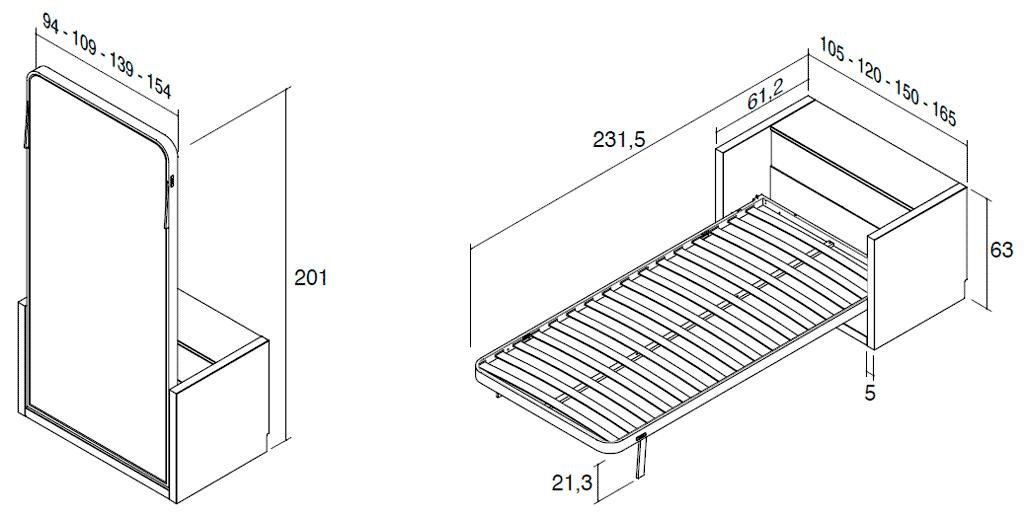 Medidas de la cama vertical metálica modelo Blink con arcón