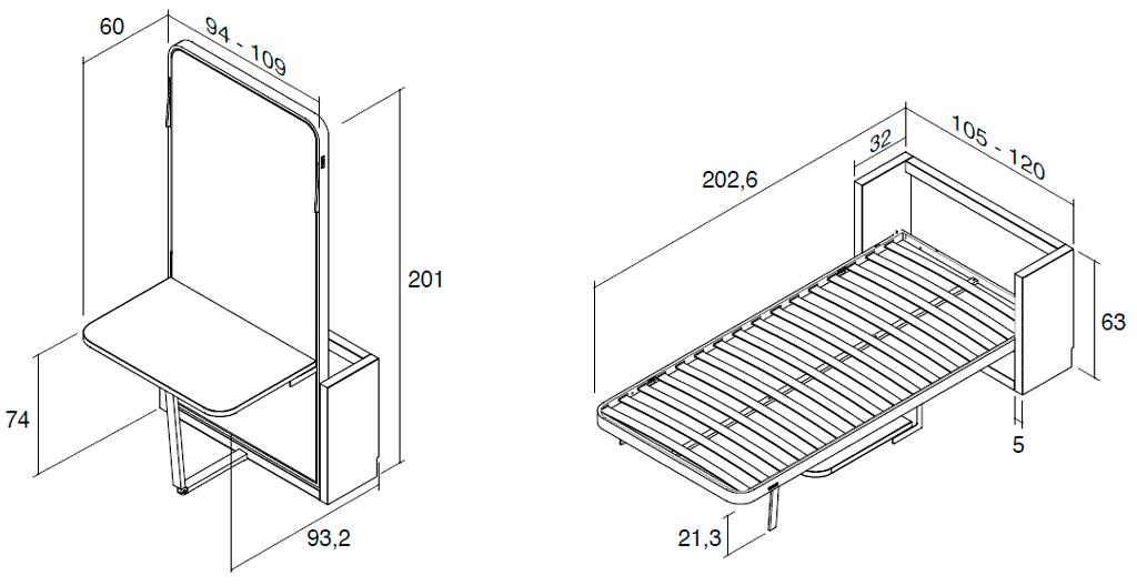 Medidas de la cama vertical metálica modelo Blink con mesa