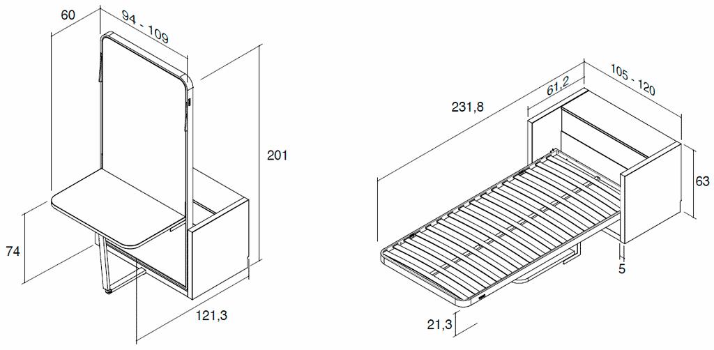 Medidas de la cama vertical metálica modelo Blink con mesa y arcón