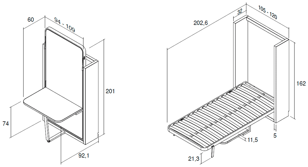 Medidas de la cama vertical metálica modelo Blink con mesa y respaldo alto