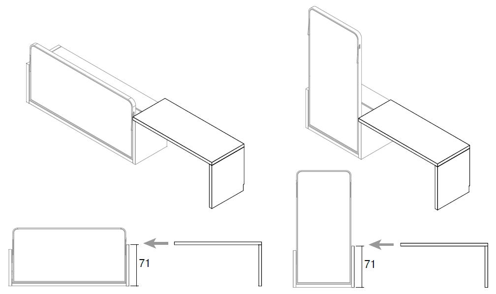 Opciones de la mesa para la cama horizontal y vertical modelo Blink