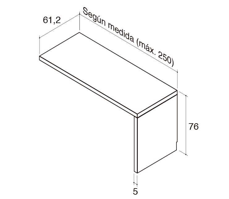 Medidas de la mesa para la cama modelo Blink