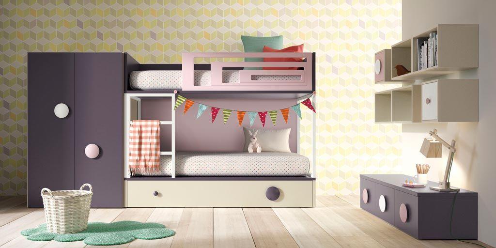 Habitación infantil modelo Amberes con literas y armario bajo
